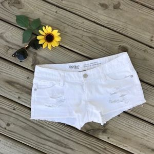 Mossimo Distressed White Jean Shorts